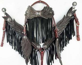 Handmade Brown Angel Wings Fringe Hand Tooled Leather Headstall Western Horse Trail Show Bridle Breast Collar Set Made To Order