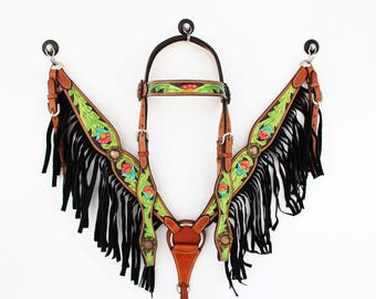 Handmade Green Black Hand Painted Floral Fringe Bling Western Trail Barrel Leather Show Horse Bridle Headstall Breast Collar Tack