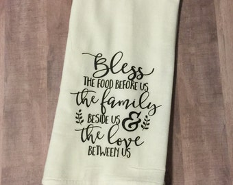 Bless the Food Before Us flour sack dish towel