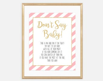 Don't Say Baby Sign, Diaper Pin Game, Don't say a word, Pink and Gold, Glitter, Baby Shower Games, Printables, Instant download, 001