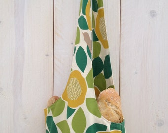 Long shoulder bag Canvas for baguette Yoga Leaves flowers birds green yellow off white