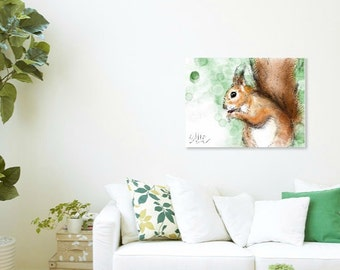 Squirrel painting // A3 squirrel print // squirrel gifts // red squirrel // red squirrel painting // red squirrel art // squirrel drawing