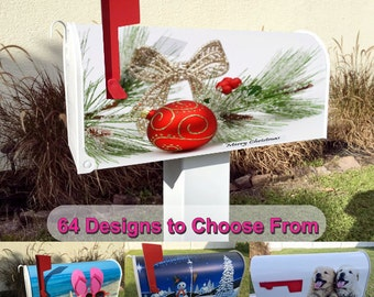 Christmas Bulb and Branch Magnetic Mailbox Cover