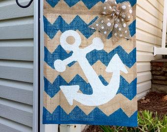 Anchor Burlap Garden Flag
