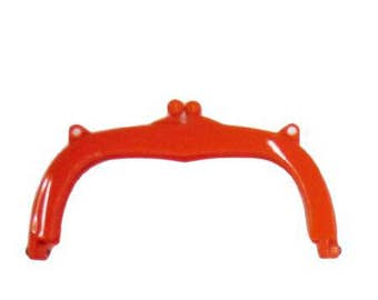 Red Lecien jelly clip purse handles 7 inch /18 cm, rein with copper screws,