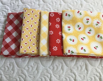 5 yellow and red fat quarters from sew cherry 2 from Lori Holt for Riley Blake