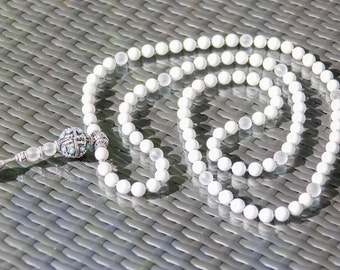 Exclusive Prayer Mala 108 Beads 12 mm White Jadeite Grade A and Frosted Rock Crystal Grade AAA