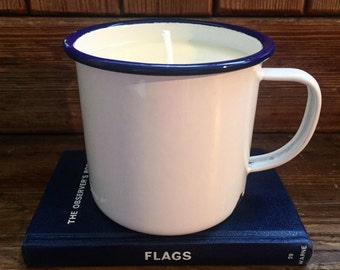 Magnolia & vanilla soy wax candle in a large vintage enamelware mug