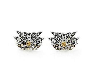 Daystar Crystal Stud Earrings Gold