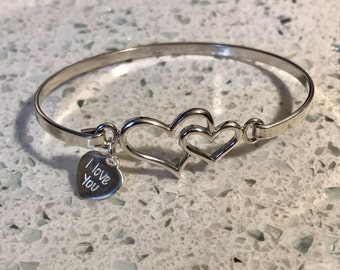 Sterling Silver Double Heart Bangle / I Love you tag