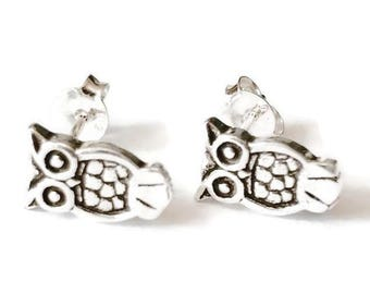 Sterling Silver Owl Stud Earrings/Highly polished/Gifts/wedding/bridesmaid