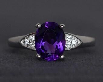 purple amethyst ring gemstone ring oval cut amethyst engagement ring sterling silver February birthstone ring