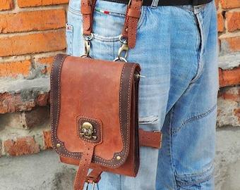 Hand-tooled motorcycle bags, biker bag, hip pouch, belt bag, leather belt pouch,leather motorcycle bag , Thigh Bag