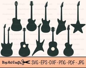 Guitar LAZER Cut Silhouette Files / Electric Guitar clipart / DIY Guitar SVG cut files / scrap booking / Guiter Silhouette / Commercial Use