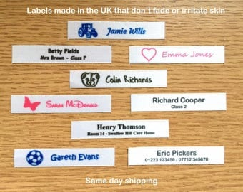 Woven Name Labels Alternative Sew-in Name Tags Ideal for School and Nursery Uniform etc