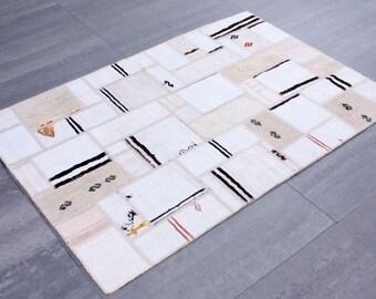"""Striped Hemp Patchwork Kilim 120cmx180cm=2.16 m2 3'11"""" x 5'11"""""""