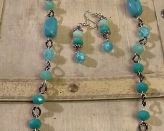 Long Aqua & Gunmetal Necklace Set