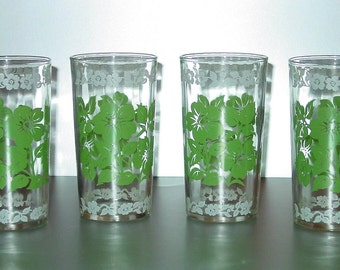 Vintage Drinking Glasses, Set of (4) Green & White Flowers, Tumblers, Beverage, Retro Kitchen