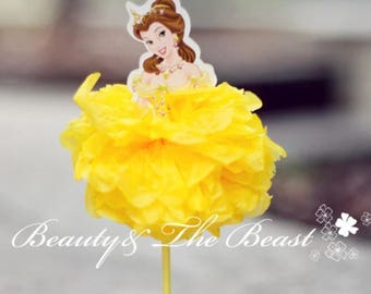 2pcs Belle Beauty and the Beast Cake Topper