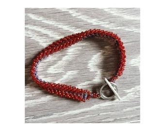 Red handmade Toho beads bracelet