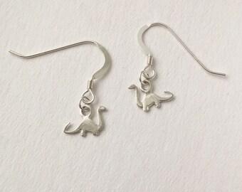 Sterling silver tiny Diplodocus Dinosaur earrings