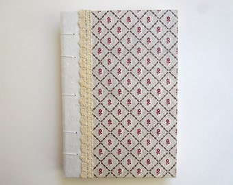 Coptic Stitch Journal wth Lace and Floral Print