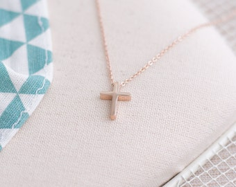Cross Pendant Necklace Stainless Steel 18inch Silver or Rose Gold Plated 18K Christmas Gift for Her