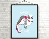 Magnifique Inde- Indian Elephant Decorated with Art and Jewelry // Indian Elephant Art // Elephant Art for Digital Print