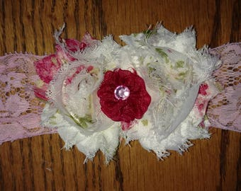 White and Pink Floral Shabby with Small Pink Flower Headband - Choice Elastic - Custom Size