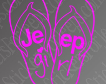 Jeep girl flip-flops vinyl decal / sticker any color