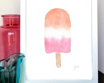 Popsicle Watercolor Print - Wall Decor - Summer Wall Decor - Kids Room Decor - Nursery Wall Art - Baby Shower Gift - Gift for Her