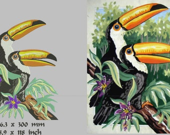 toucan, bird, machine embroidery, instant download.