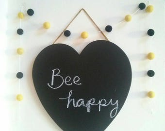 Black and yellow Bee Happy felt ball garland - stylish nursery decoration, boys bedroom decor baby shower gift, new baby gift, new home gift