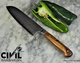 Hammered Damascus Gyuoto Knife with Cocobolo Handle