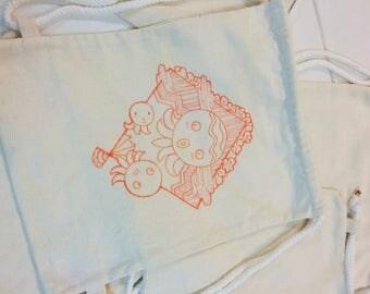 Hand drawing burlap hessian drawstring backpack