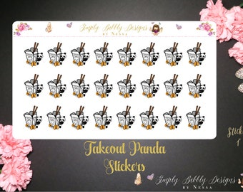To Go/Food/Takeout Panda - Planner Stickers