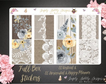 Floral Lace Full Deco Boxes - Planner Stickers