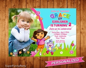 Dora Birthday Invitation, Dora the Explorer Birthday Invite, Girls Birthday Invitation, Personalized, Digital File