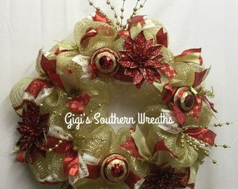 Christmas Deco Mesh Wreath, Christmas Wreath, Red and Gold Christmas Deco Mesh Wreath, Christmas Door Decor 130