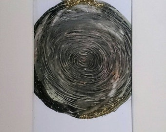 SALE Abstract Painting Circle Black Grey Gold Metallic Original Art Mounted Wall Art 8 x 10 Mixed Media Glitter Mix and Match Art series