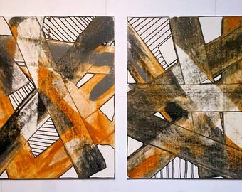 Acrylic Painting Original Set of Two Abstract Art on Canvas 10'' x 12'' Retro Vintage Colour Orange Grey Gold Abstract Wall Art Gift Set