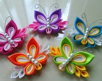 5 Kanzashi Butterfly Hair clips. Made to order. Handmade Kanzashi hair clips. Mixed color.