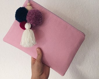 iPad bag / case made of canvas with PomPoms - pink & lilac