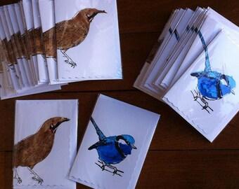 Splendid Fairy Wren and Red Wattle Bird Cards