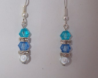 Glass bead and rhinestone earrings