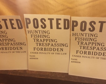 Vintage Posted Sign, Large Paper Posted Sign, Hunting Fishing Trapping Trespassing Forbidden Sign, Vintage Sign, Old Posted Signs