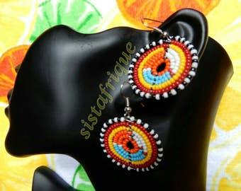 Multicolor disc shape beaded earrings/ Ethnic jewellery/ Masai bead earrings