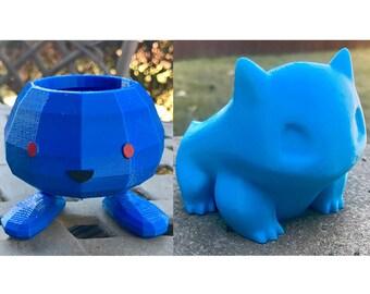 Bulbasaur and Oddish Pokemon Planter Gift Set (Medium/Small High-Res/Low-Poly)