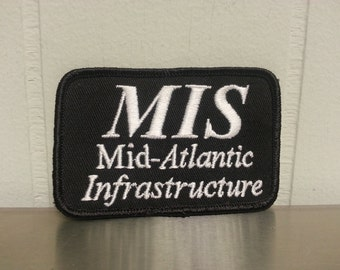 Vintage 90's Mid Atlantic Infastructure MIS Black Rectangle Patch Craft