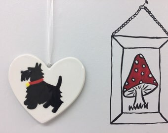 Hand painted Ceramic Heart - Scotty Dog - heart, birthday, christmas, thank you, him, her